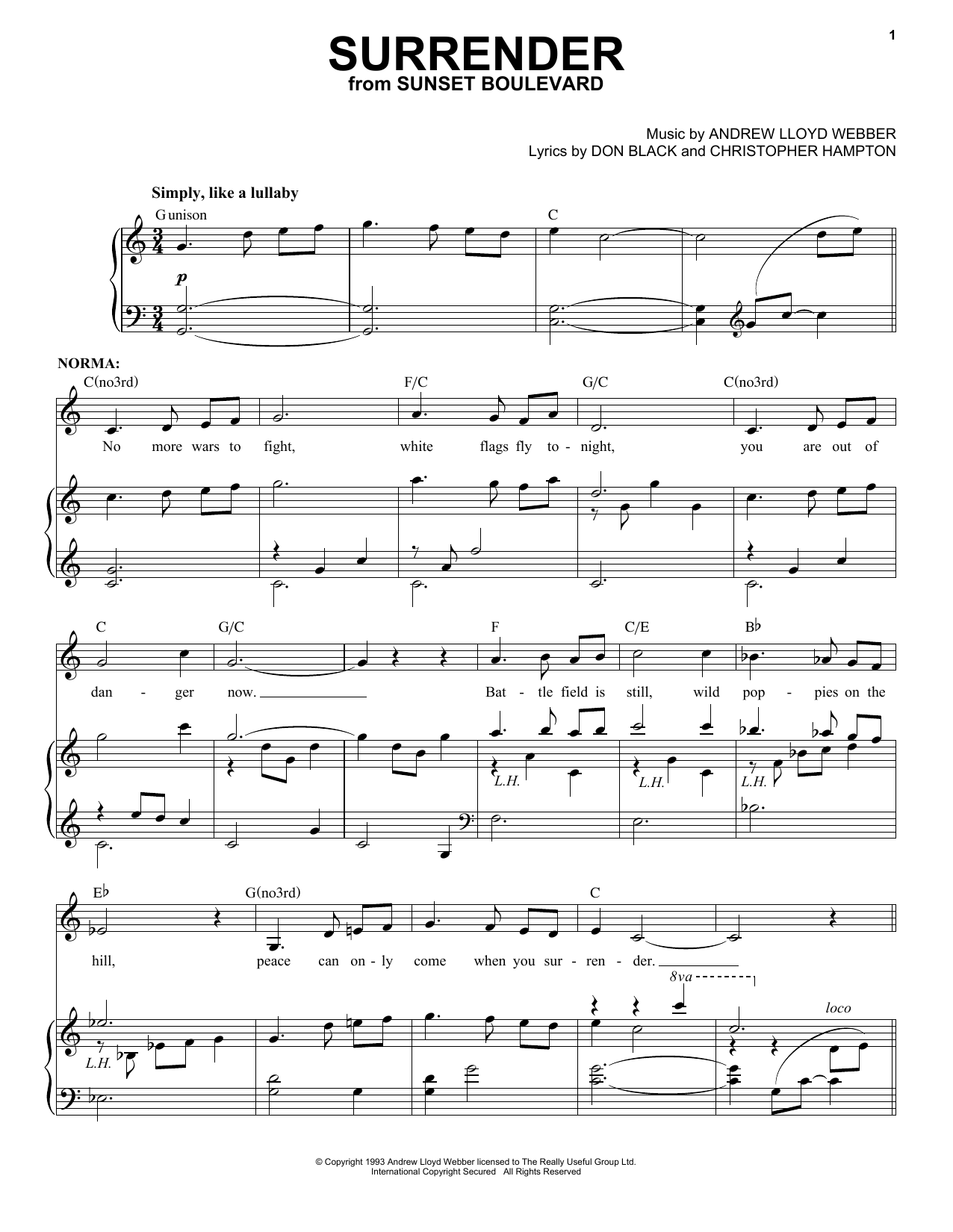 Download Andrew Lloyd Webber Surrender sheet music and printable PDF score & Broadway music notes