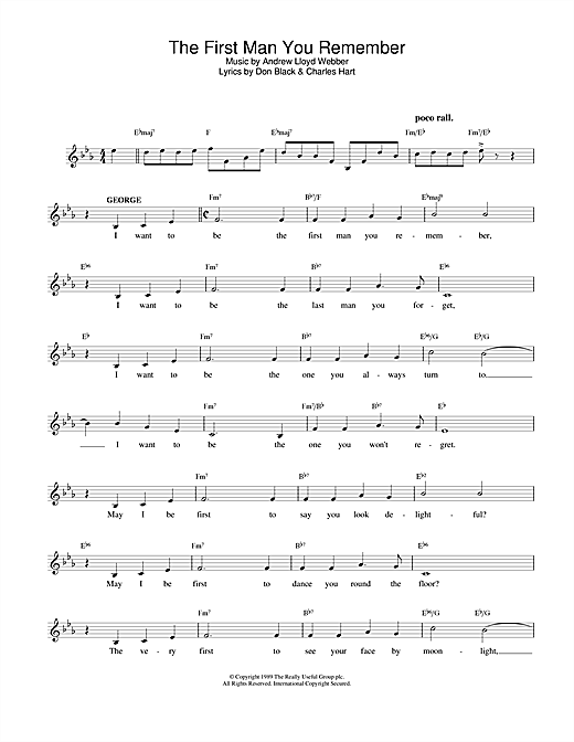 Download Andrew Lloyd Webber The First Man You Remember (from Aspects Of Love) sheet music and printable PDF score & Musicals music notes