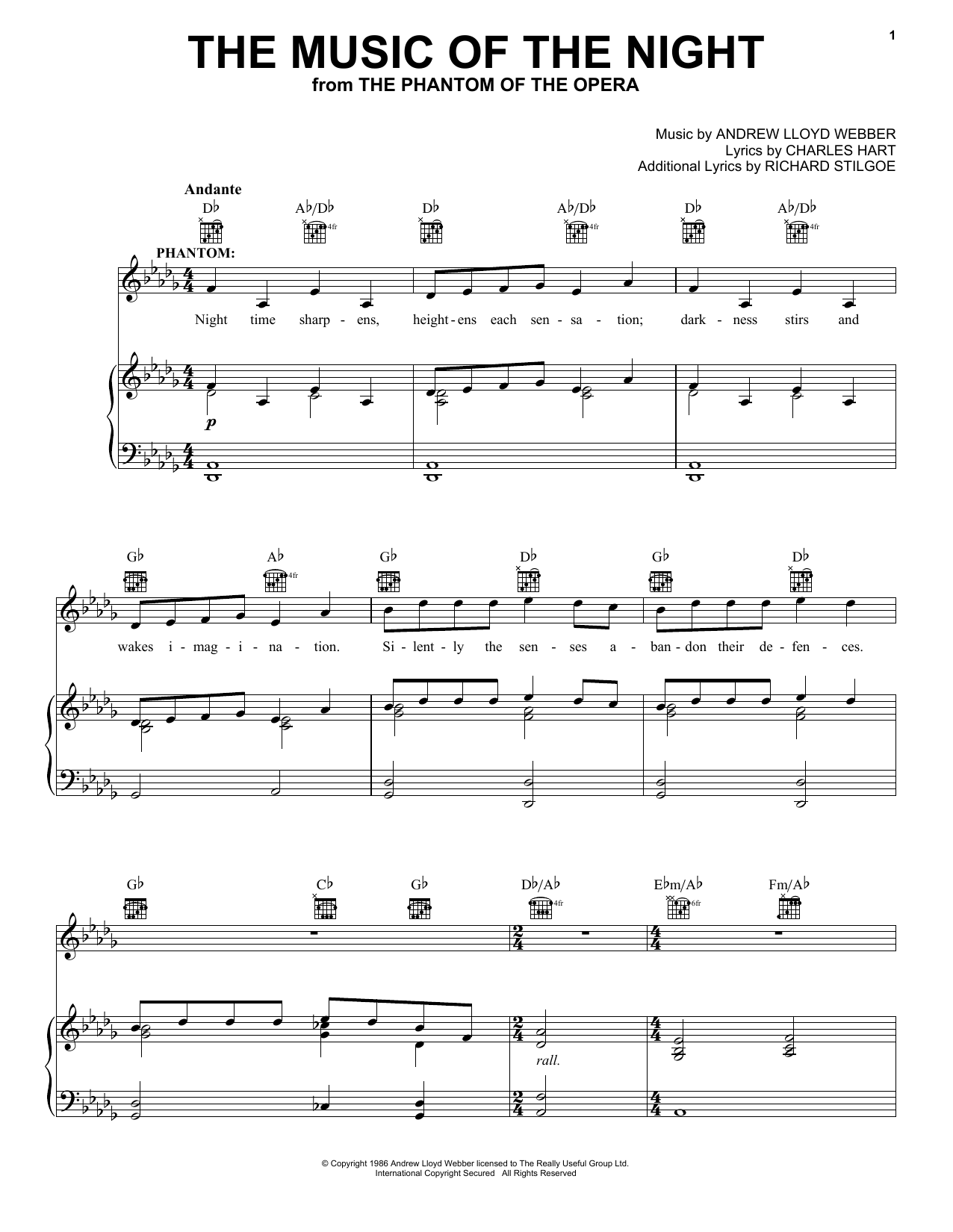 Download Andrew Lloyd Webber The Music Of The Night sheet music and printable PDF score & Musicals music notes