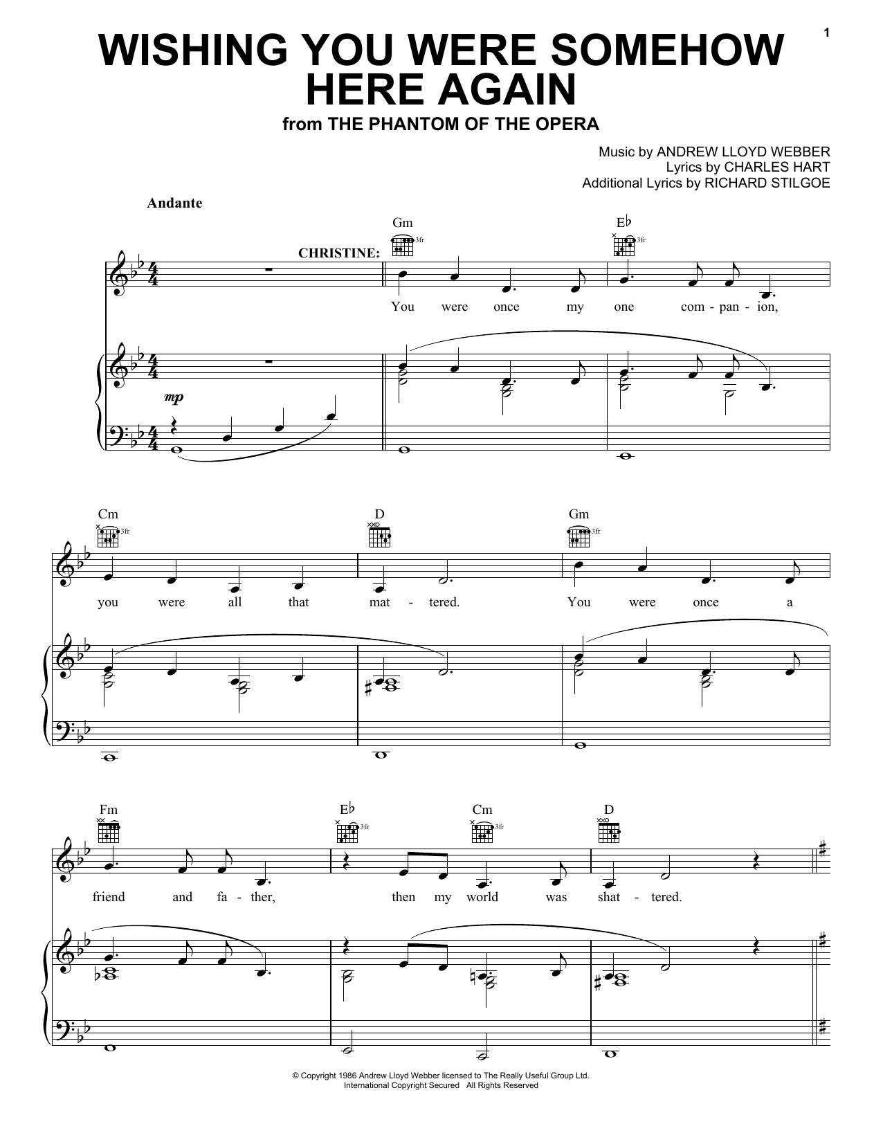 Download Andrew Lloyd Webber Wishing You Were Somehow Here Again (from The Phantom Of The Opera) sheet music and printable PDF score & Musicals music notes