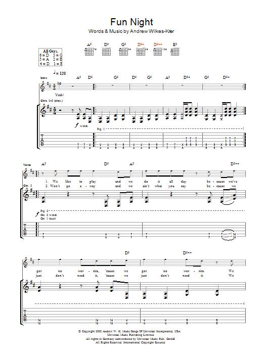 Download Andrew WK Fun Night sheet music and printable PDF score & Rock music notes