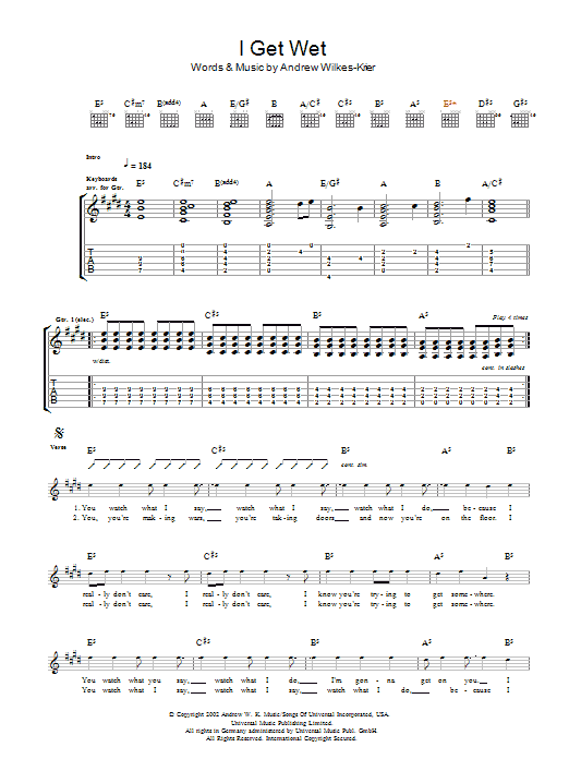 Download Andrew WK I Get Wet sheet music and printable PDF score & Rock music notes