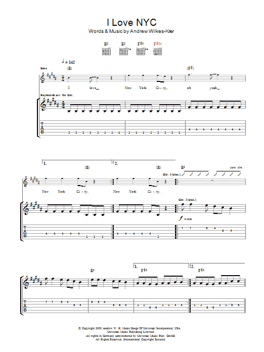 Download Andrew WK I Love NYC sheet music and printable PDF score & Rock music notes