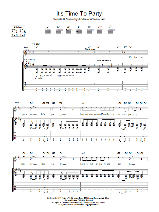 Download Andrew WK It's Time To Party sheet music and printable PDF score & Rock music notes