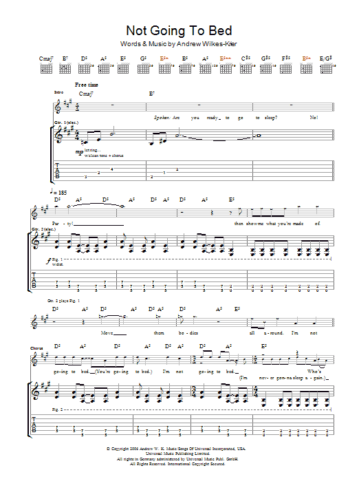 Download Andrew WK Not Going To Bed sheet music and printable PDF score & Rock music notes