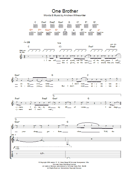 Download Andrew WK One Brother sheet music and printable PDF score & Rock music notes