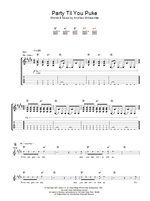 Download Andrew WK Party Til You Puke sheet music and printable PDF score & Rock music notes
