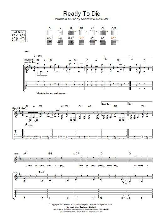 Download Andrew WK Ready To Die sheet music and printable PDF score & Rock music notes