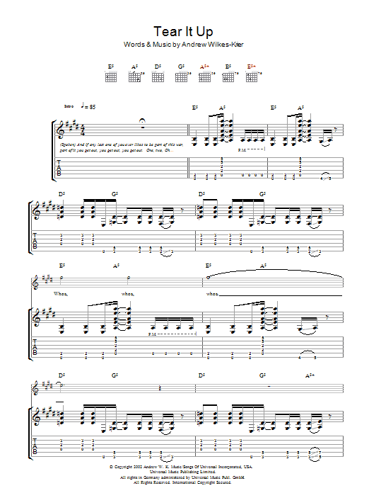 Download Andrew WK Tear It Up sheet music and printable PDF score & Rock music notes