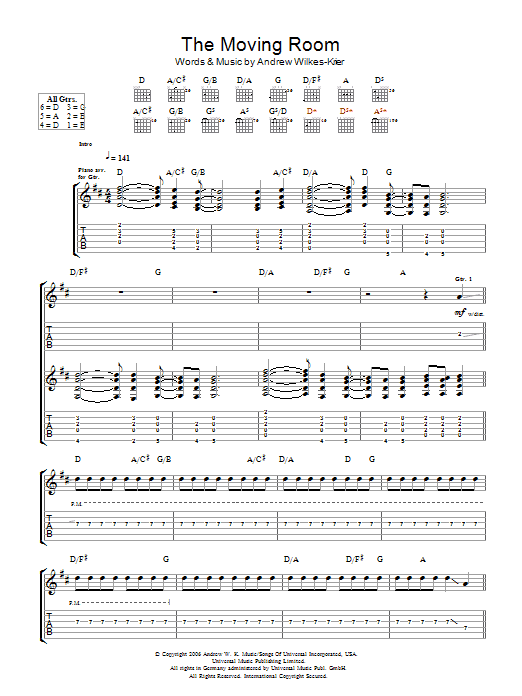 Download Andrew WK The Moving Room sheet music and printable PDF score & Rock music notes