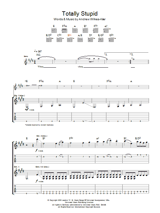 Download Andrew WK Totally Stupid sheet music and printable PDF score & Rock music notes