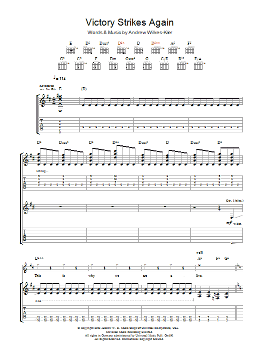 Download Andrew WK Victory Strikes Again sheet music and printable PDF score & Rock music notes