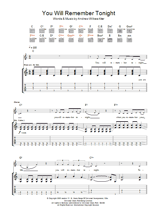 Download Andrew WK You Will Remember Tonight sheet music and printable PDF score & Rock music notes