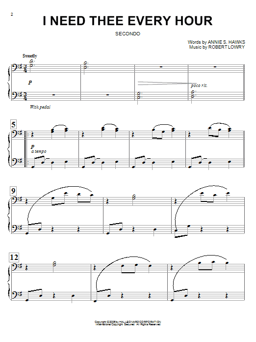 Download Annie S. Hawks I Need Thee Every Hour sheet music and printable PDF score & Hymn music notes