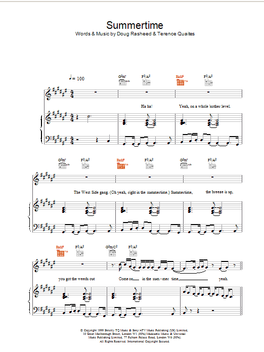 Download Another Level Summertime sheet music and printable PDF score & Pop music notes