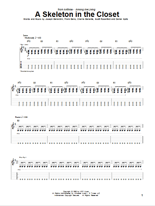 Download Anthrax A Skeleton In The Closet sheet music and printable PDF score & Pop music notes