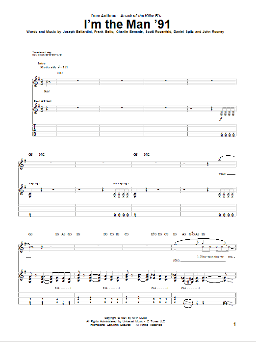 Download Anthrax I'm The Man '91 sheet music and printable PDF score & Pop music notes