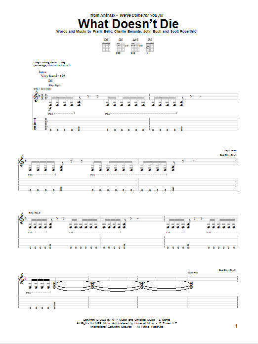 Download Anthrax What Doesn't Die sheet music and printable PDF score & Pop music notes