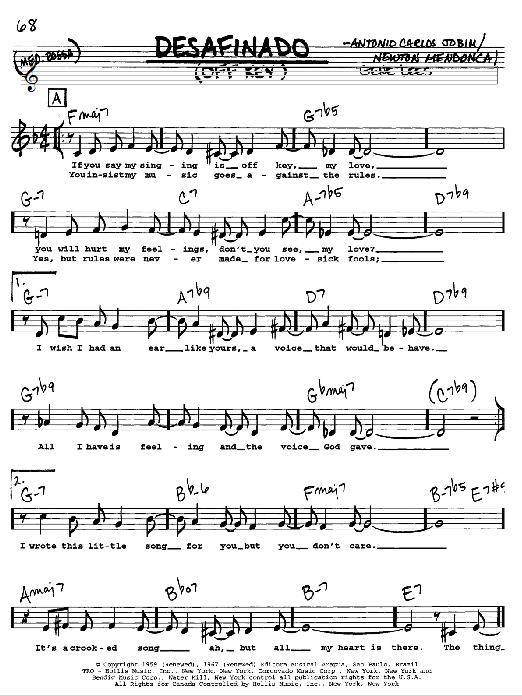 Download Antonio Carlos Jobim Desafinado (Slightly Out Of Tune) sheet music and printable PDF score & Jazz music notes