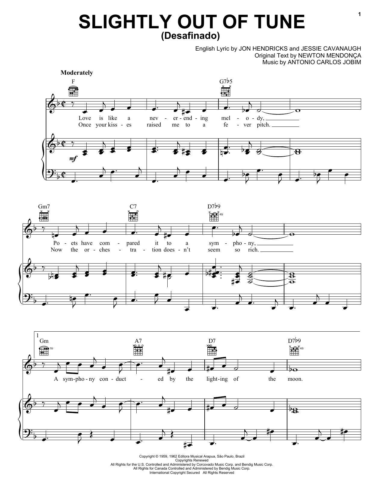 Download Antonio Carlos Jobim Slightly Out Of Tune (Desafinado) sheet music and printable PDF score & World music notes