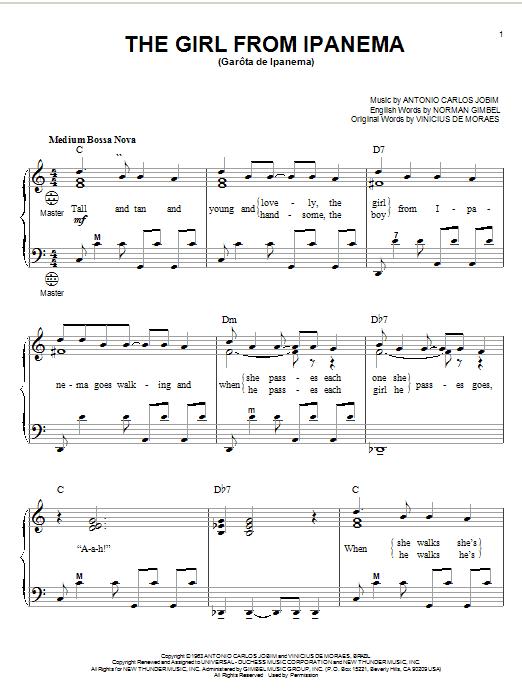 Download Antonio Carlos Jobim The Girl From Ipanema (Garota De Ipanema) sheet music and printable PDF score & Jazz music notes
