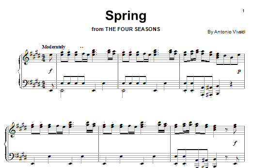 Download Antonio Vivaldi Spring (from The Four Seasons) sheet music and printable PDF score & Classical music notes