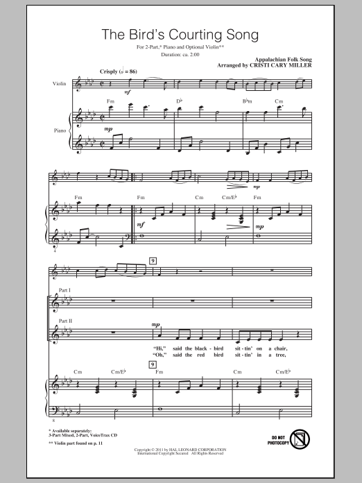 Download Appalachian Folk Song The Bird's Courting Song (arr. Cristi Cary Miller) sheet music and printable PDF score & Children music notes