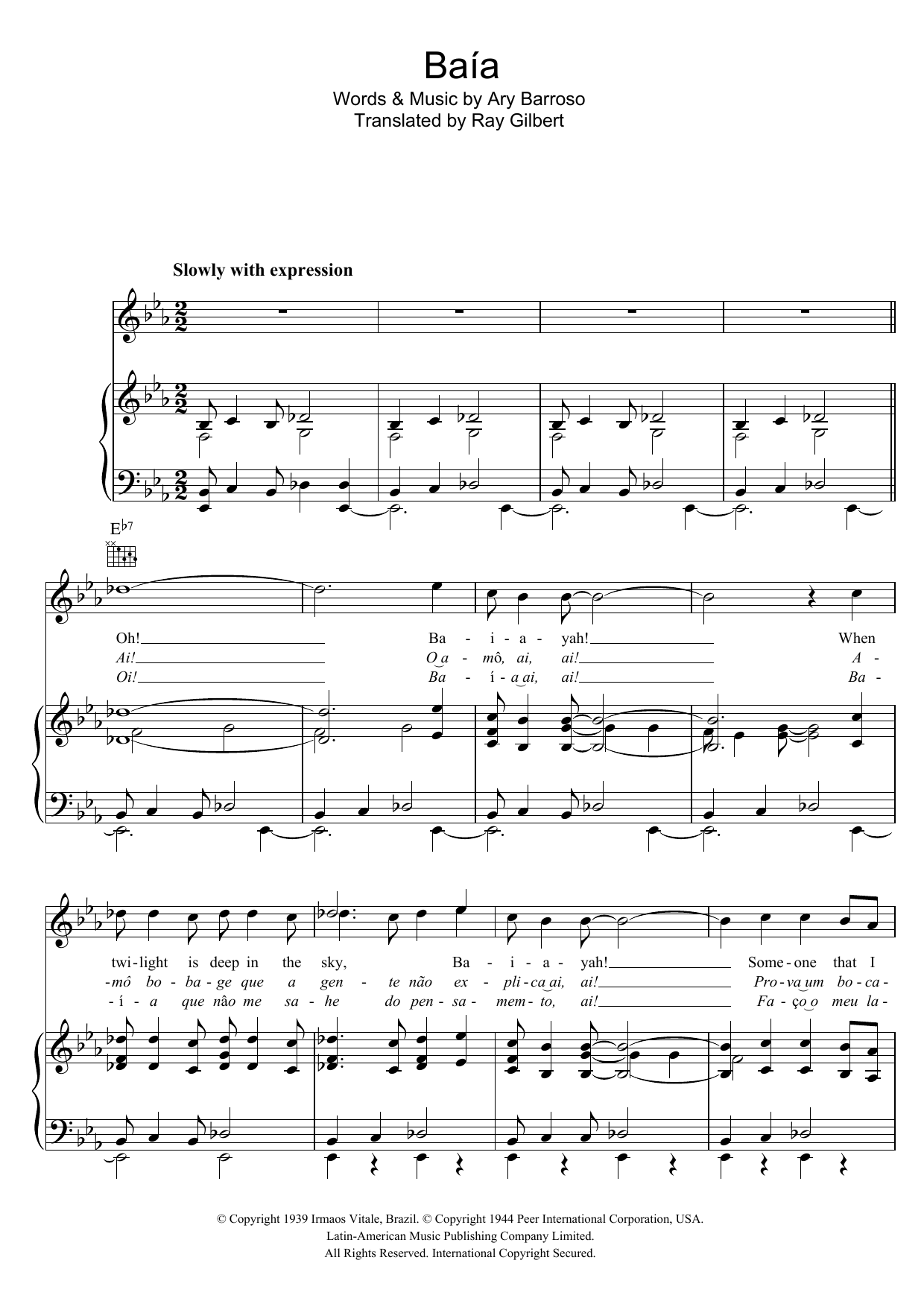 Download Ary Barroso Baia sheet music and printable PDF score & Latin music notes