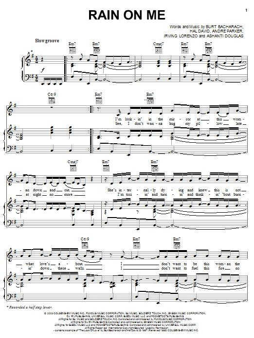 Download Ashanti Rain On Me sheet music and printable PDF score & Pop music notes