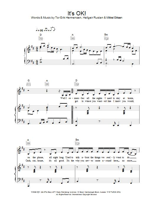 Download Atomic Kitten It's OK! sheet music and printable PDF score & Pop music notes