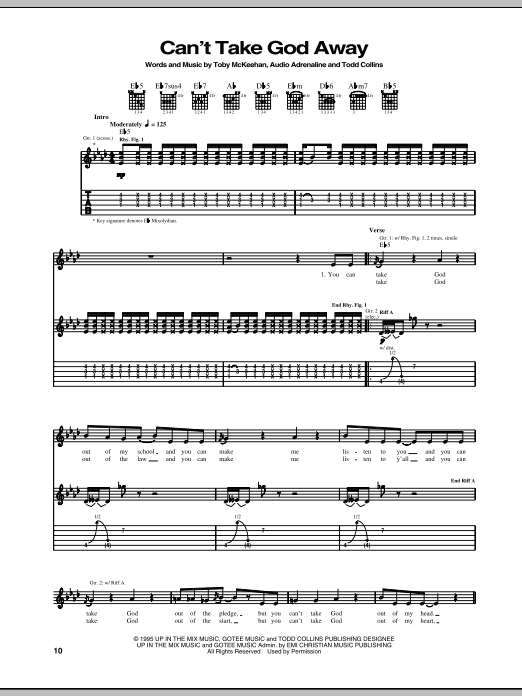 Download Audio Adrenaline Can't Take God Away sheet music and printable PDF score & Pop music notes