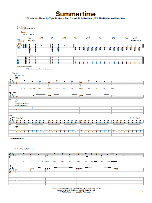 Download Audio Adrenaline Summertime sheet music and printable PDF score & Rock music notes