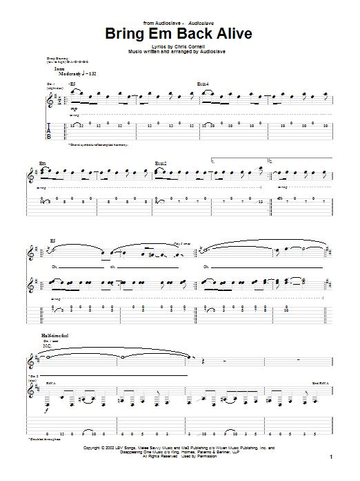 Download Audioslave Bring Em Back Alive sheet music and printable PDF score & Metal music notes
