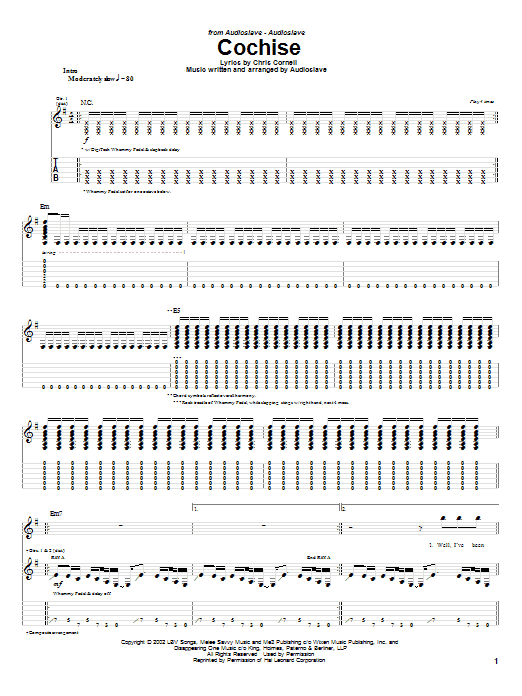 Download Audioslave Cochise sheet music and printable PDF score & Metal music notes