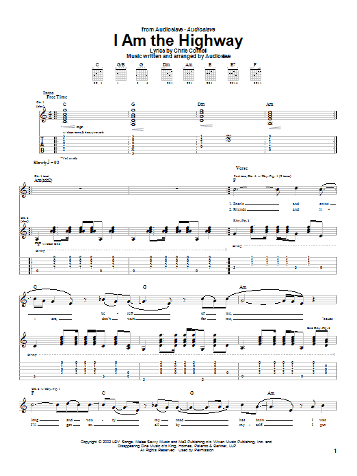 Download Audioslave I Am The Highway sheet music and printable PDF score & Metal music notes