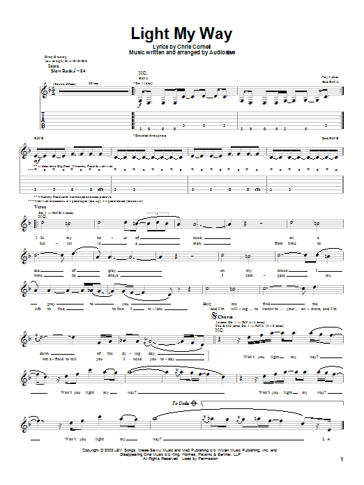 Download Audioslave Light My Way sheet music and printable PDF score & Metal music notes
