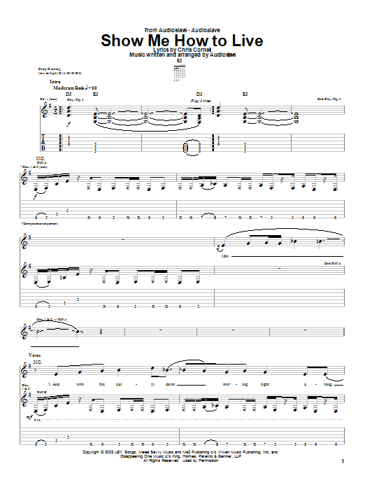 Download Audioslave Show Me How To Live sheet music and printable PDF score & Rock music notes