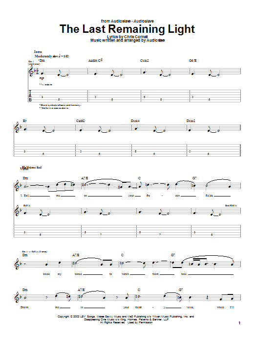 Download Audioslave The Last Remaining Light sheet music and printable PDF score & Metal music notes
