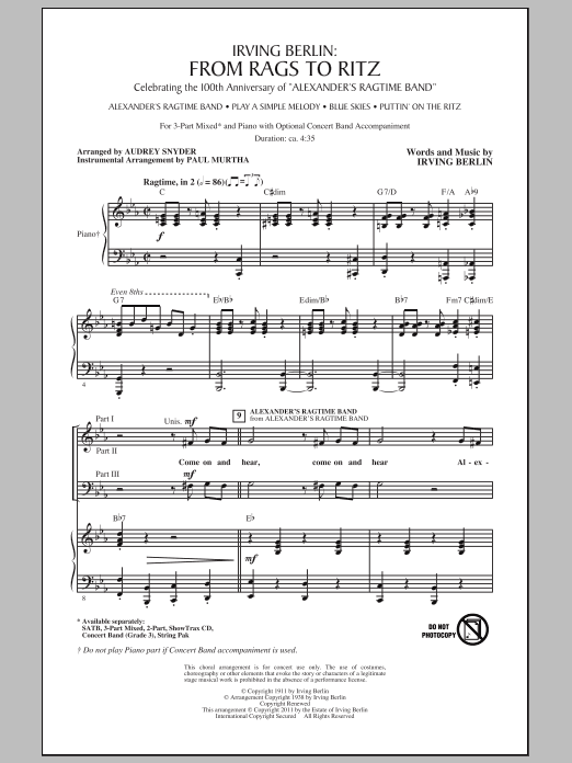 Download Audrey Snyder I Love Ragtime (Medley) sheet music and printable PDF score & Broadway music notes