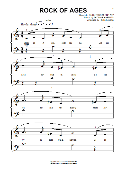 Download Augustus M. Toplady Rock Of Ages sheet music and printable PDF score & Hymn music notes