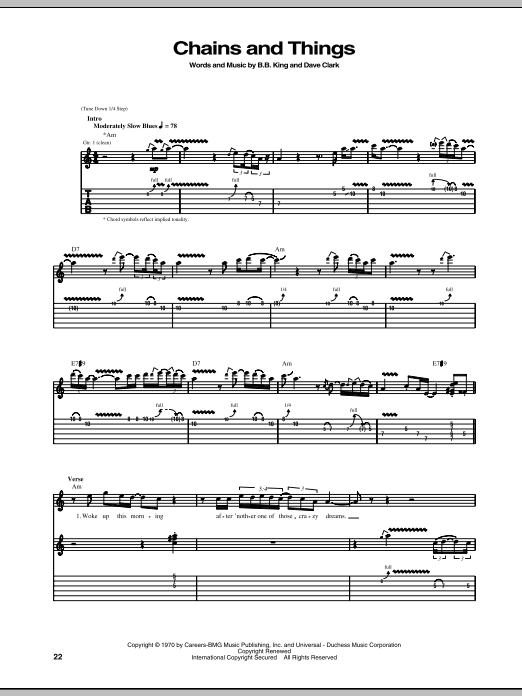 Download B.B. King Chains And Things sheet music and printable PDF score & Pop music notes