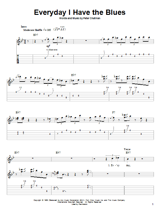 Download B.B. King Every Day I Have The Blues sheet music and printable PDF score & Pop music notes