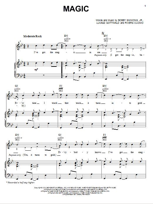 Download B.o.B Bright Lights Bigger City/Magic (feat. Rivers Cuomo) sheet music and printable PDF score & Pop music notes