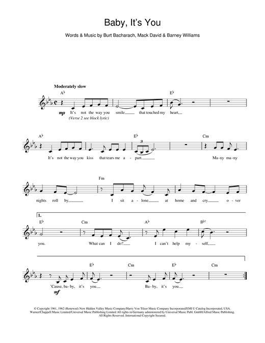 Download Bacharach & David Baby It's You sheet music and printable PDF score & Pop music notes