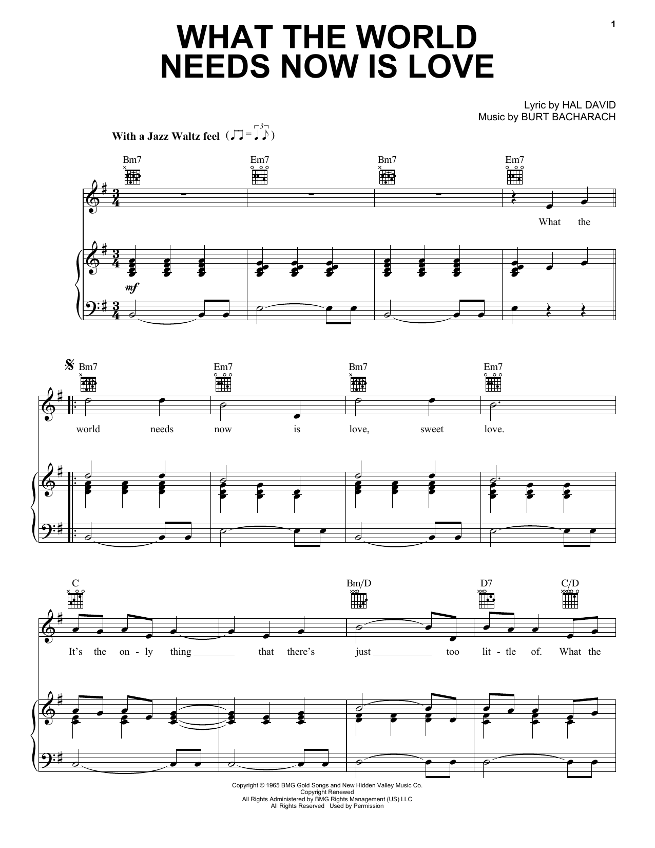Download Bacharach & David What The World Needs Now Is Love sheet music and printable PDF score & Folk music notes