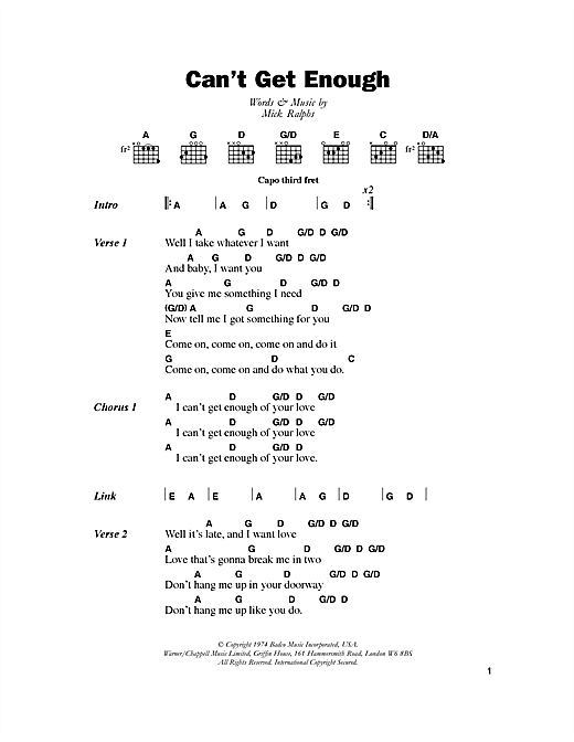 Download Bad Company Can't Get Enough sheet music and printable PDF score & Rock music notes