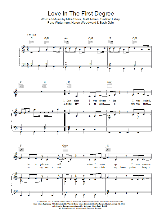 Download Bananarama Love In The First Degree sheet music and printable PDF score & Pop music notes