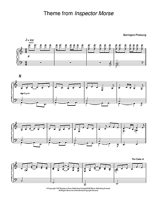 Barrington Pheloung 'Theme from Inspector Morse' Sheet Music Notes, Chords    Download Printable Piano - SKU: 24593