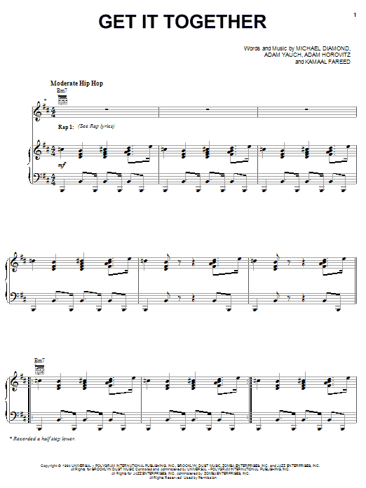 Download Beastie Boys Get It Together sheet music and printable PDF score & Rock music notes