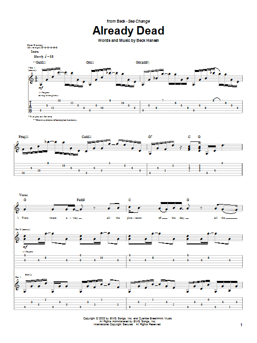 Download Beck Already Dead sheet music and printable PDF score & Rock music notes